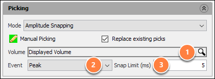 Manually pick a horizon - amplitude snapping mode