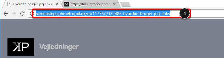 Åbn teksteditoren i ét browservindue og åbn herefter den webside du vil linke til i et andet browservindue eller en anden fane