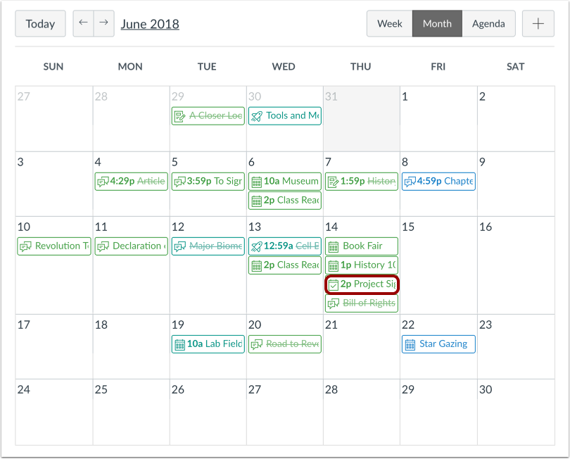 how to delete entries on canvas calendar for course