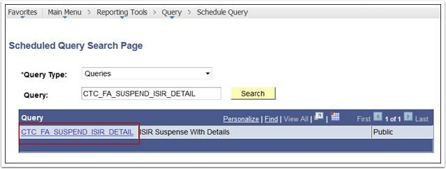 Scheduled Query Search Page