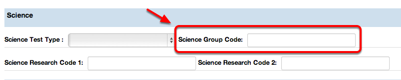 Science Test Code