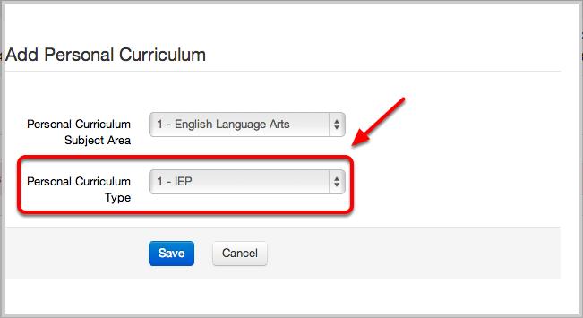 Personal Curriculum Type