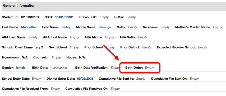 Multiple Birth Order