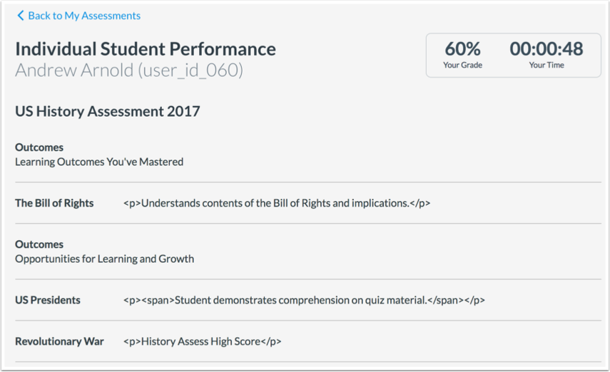 View Assessment Results