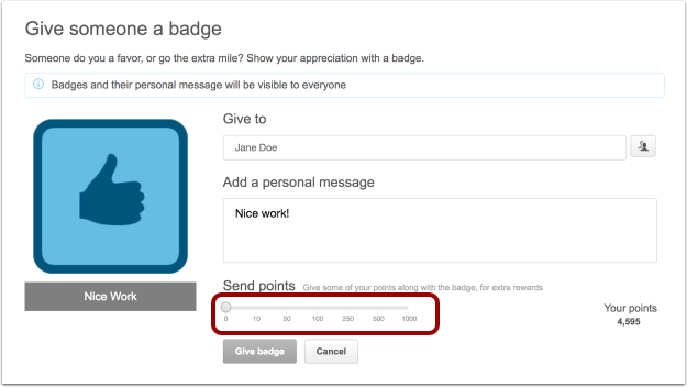 How can I send points with a user badge?