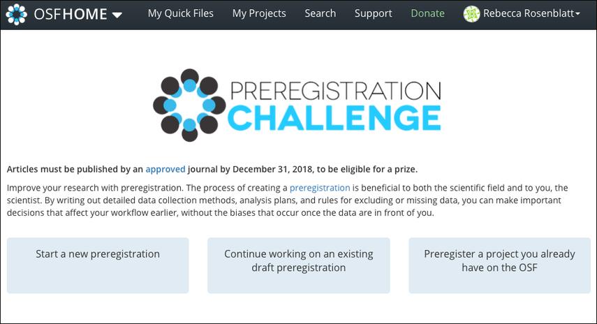 OSF Prereg Challenge Landing Page