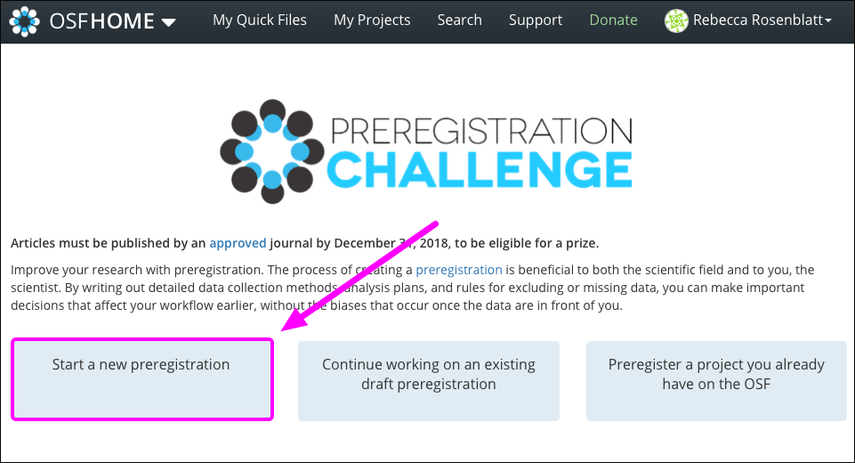 Start a New Preregistration