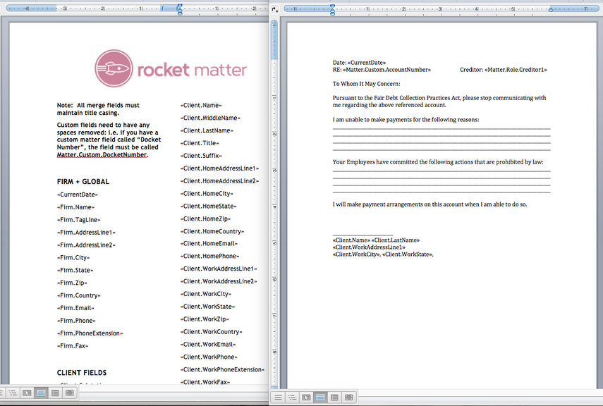 4. Open MergeFieldsList.docx in Word. Locate your desired mergefield from the list of available fields.