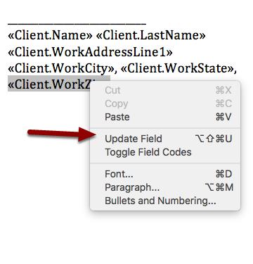"8. Update your edited mergefield by clicking ""Update Field""."