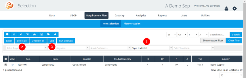 Go to the Selection or any of the Analytics Interface