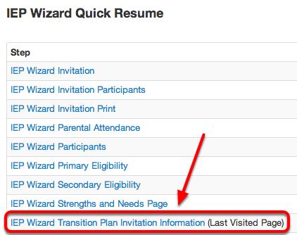 enter transition plan invitation information illuminate education