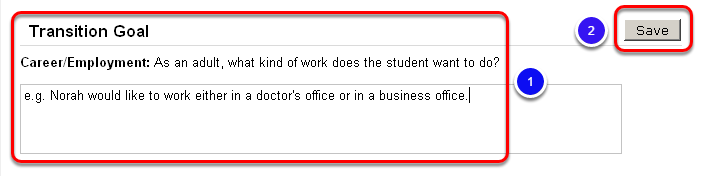 Enter Career/Employment Goal/Activity