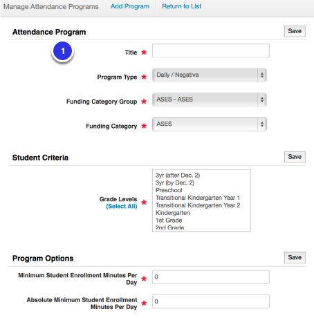 Attendance Program Creation