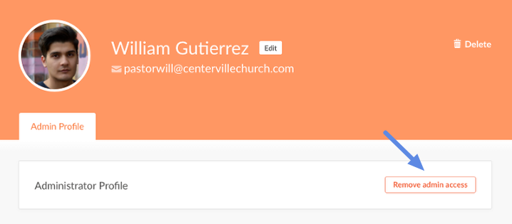 remove admin access from profile