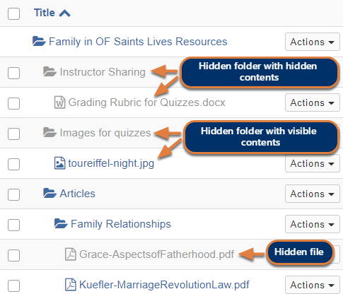 Example of Resources tool with hidden folders and files