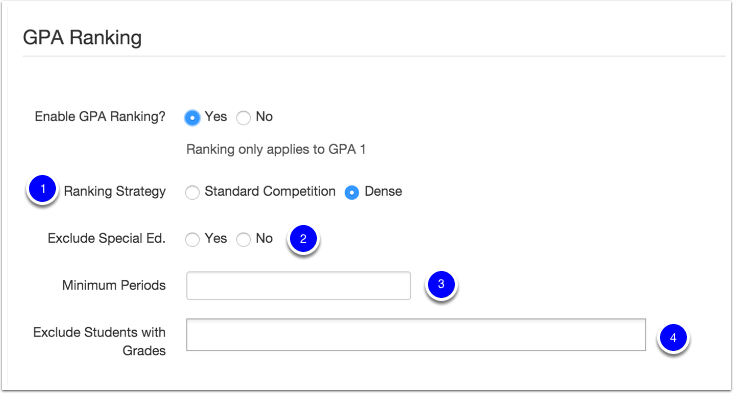 GPA Ranking Options