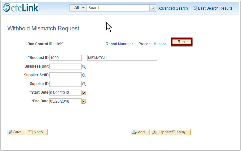 Withhold Mismatch Request page
