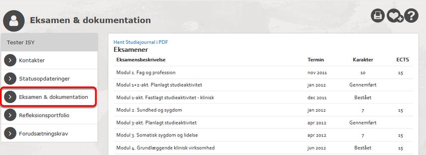 En studerendes karakterer vises f.eks. sådan: