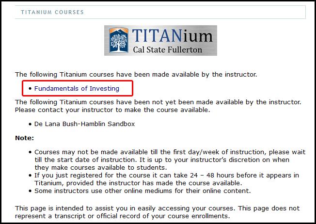 Accessing Your Titan Direct Access Student Courseware In Titanium