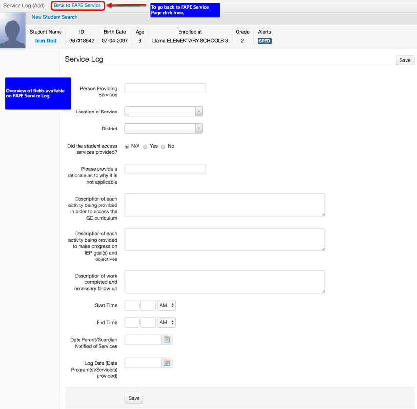 Overview of Fields Available on FAPE Service Log Page