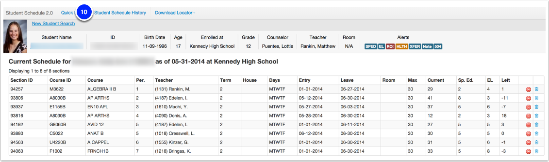 edit and delete a student schedule class illuminate education