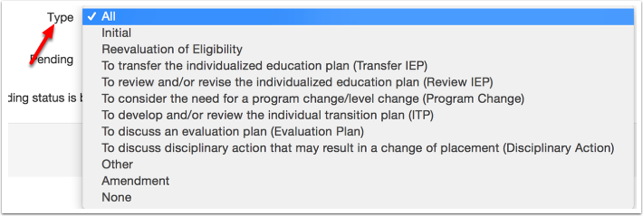 Optional Filter:  Type of IEP