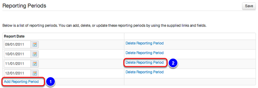 Add/Delete Reporting Period(s)
