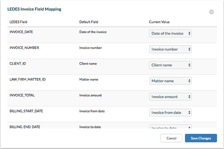 How To Configure LEDES Invoice Field Mapping For All Clients And - Invoice value