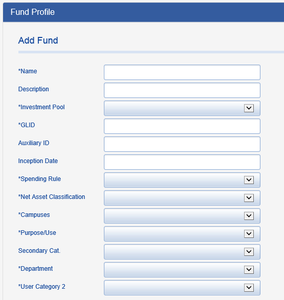 Populate other Fund Profile fields as necessary with your organization-specific information.