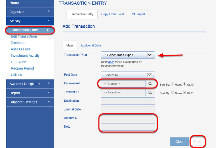 Manual transaction entry:  To enter transactions manually go to the ACTIVITY > TRANSACTION ENTRY. You will need to select the transaction from the TRANSACTION TYPE drop down box then select the fund the transaction applies to from the ENDOWMENT drop down box. You then put in the amount, any note you want to assign to the transaction, then hit the SAVE button.