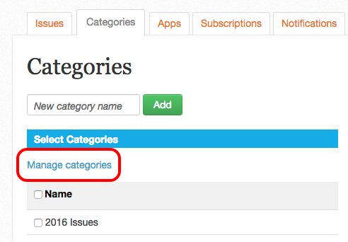 "Enter the category manager page by clicking the ""Manage categories"" link"
