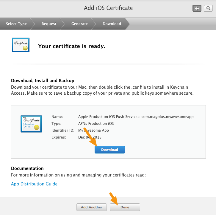 "Click on the ""Download"" button to download your new certificate and then click on ""Done."""
