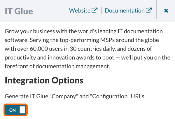 Turn on the IT Glue Integration