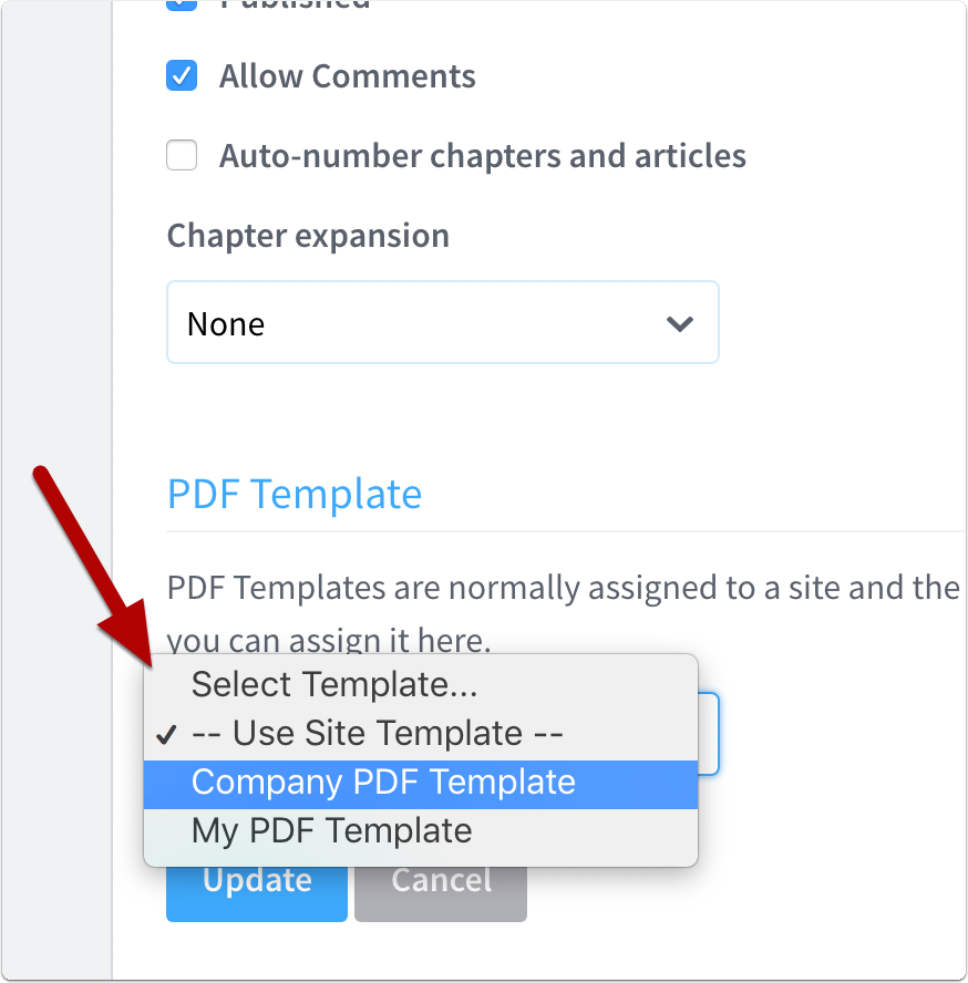 how to specify the pdf template to use for a manual creating pdfs
