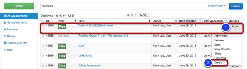 Delete an Assessment: Option 1