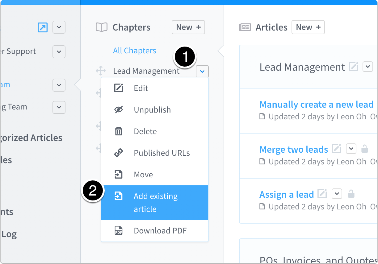 add existing article to chapter
