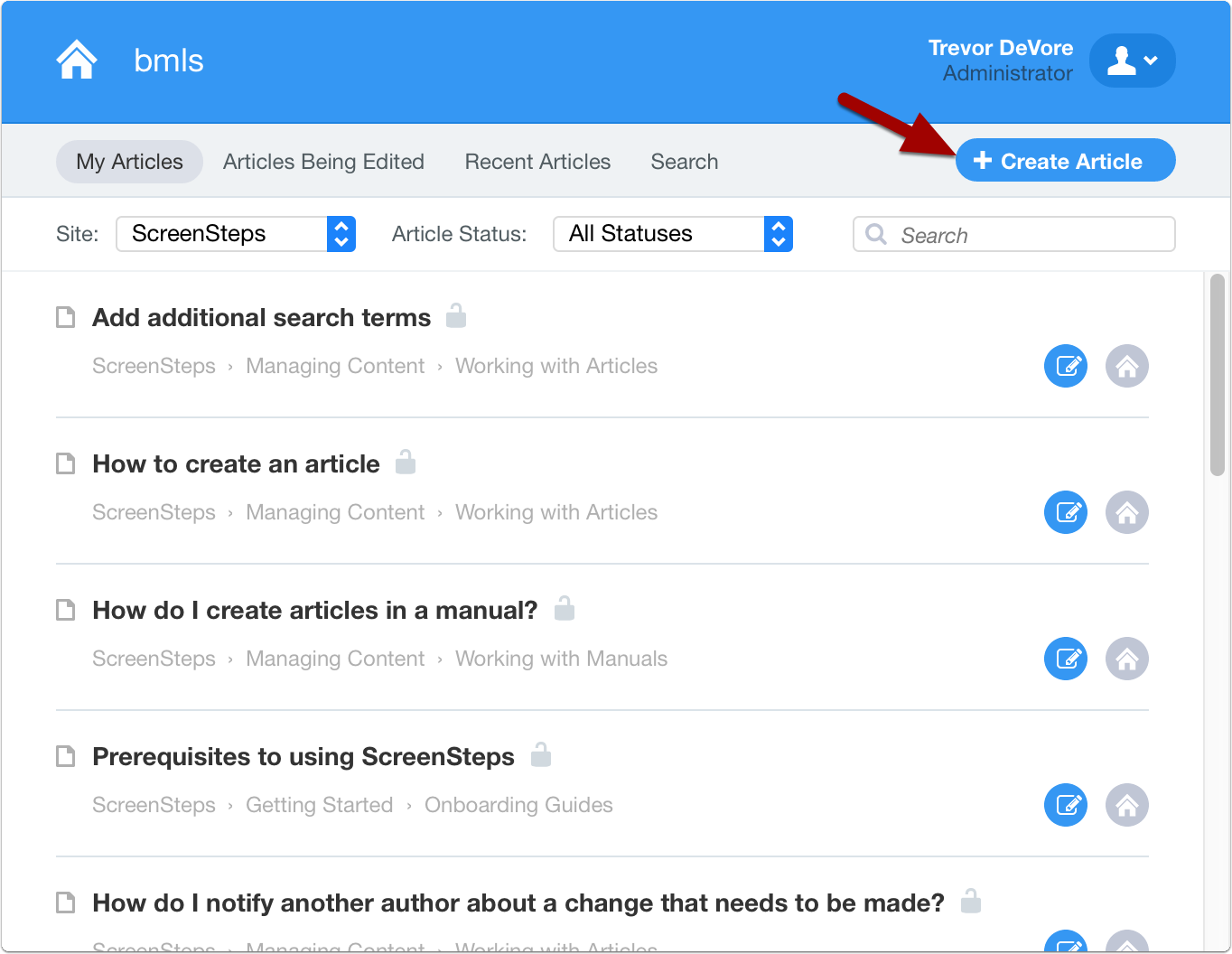 click create article