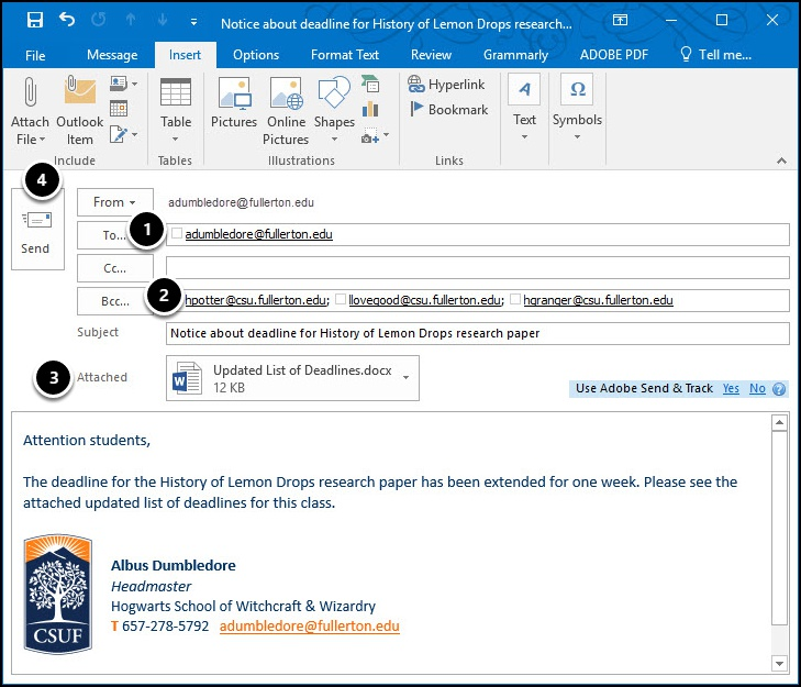 Microsoft Outlook email to students