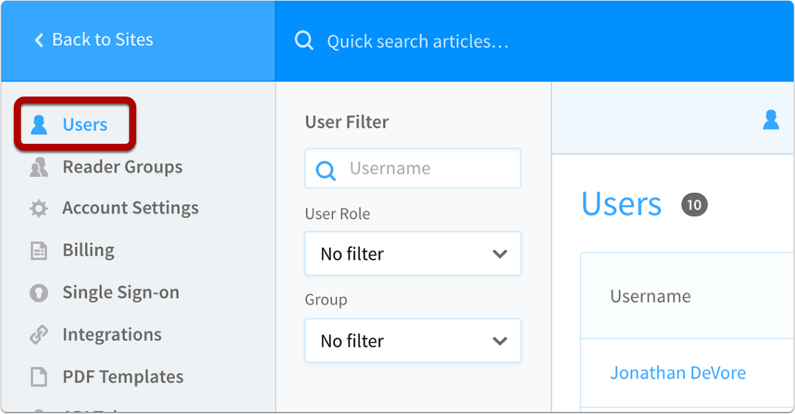 navigate to users