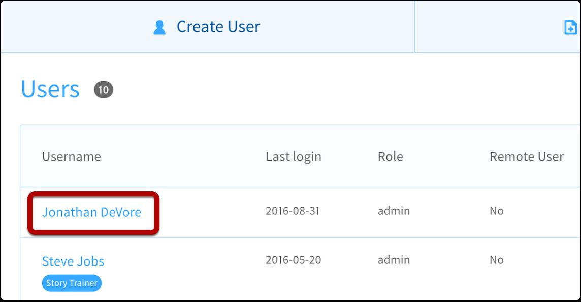 click on username