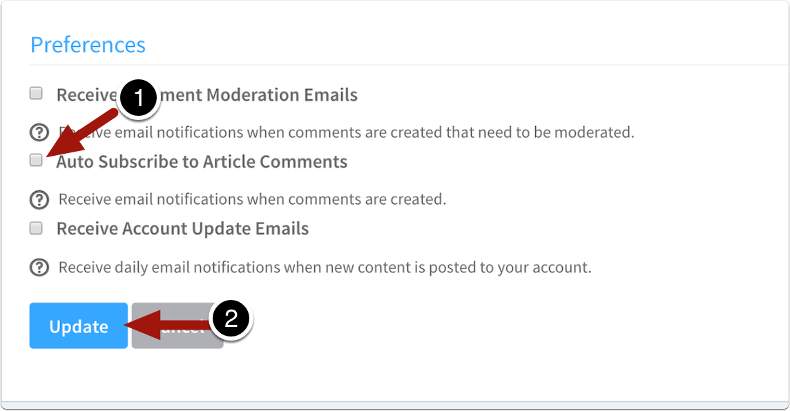 check auto subscribe to article comments