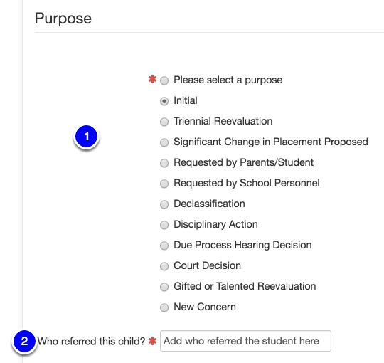 Select Reason for Referral
