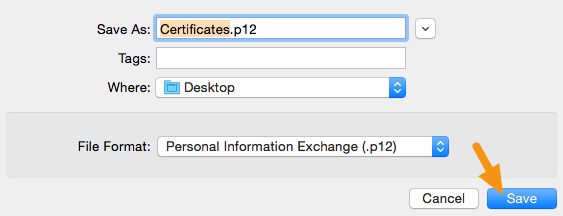 "In the window that appears, make sure the File Format is set to ""Personal Information Exchange (.p12)"" and click on ""Save"" to save it to your machine."