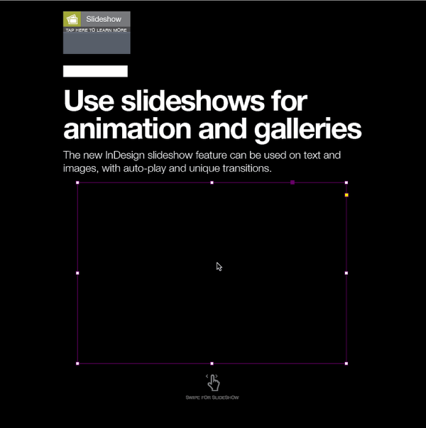 In InDesign, draw an image box on the content layer where the slideshow will appear.