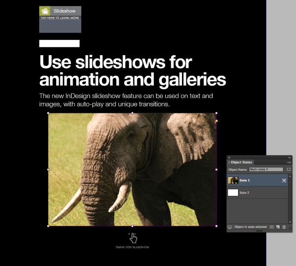 Now double-click on your image box and use the Place command to put the image for your first slide in the box.