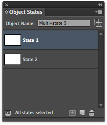 "Select ""State 1"" in the Object States panel."