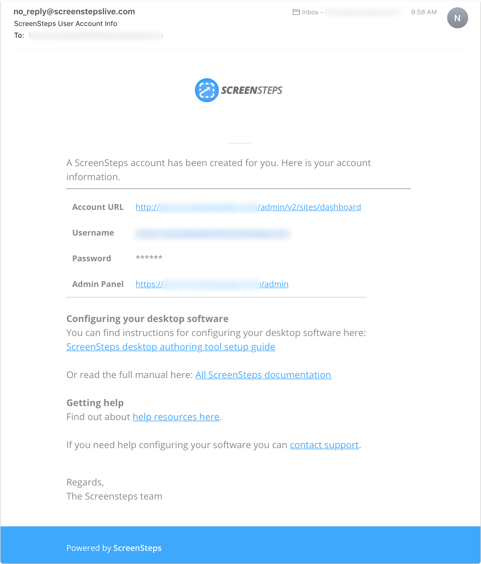 Example of the configuration email