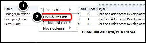 Exclude column option