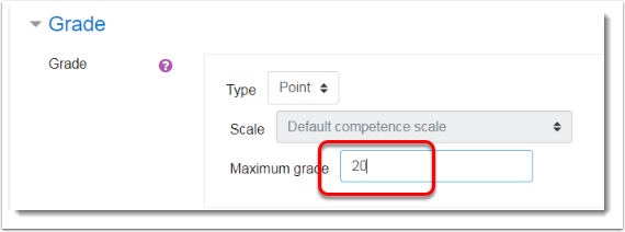 Maximum grade is set to 20.