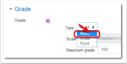 "Grade type ""None"" selected"